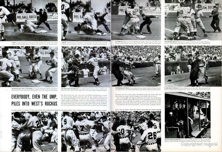 """Part of the  LIFE  magazine 3-page spread titled """"It's Rhubarb Time at the Ballpark,"""" showing the brawl between the Angels and Stars at Gilmore Field in 1953."""